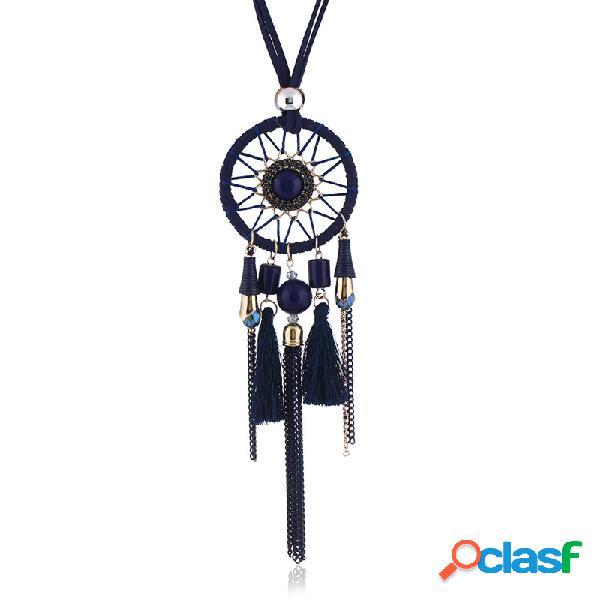 Vendimia colgante collar largo dream net terciopelo cadena borlas encanto collar joyería étnica para mujer