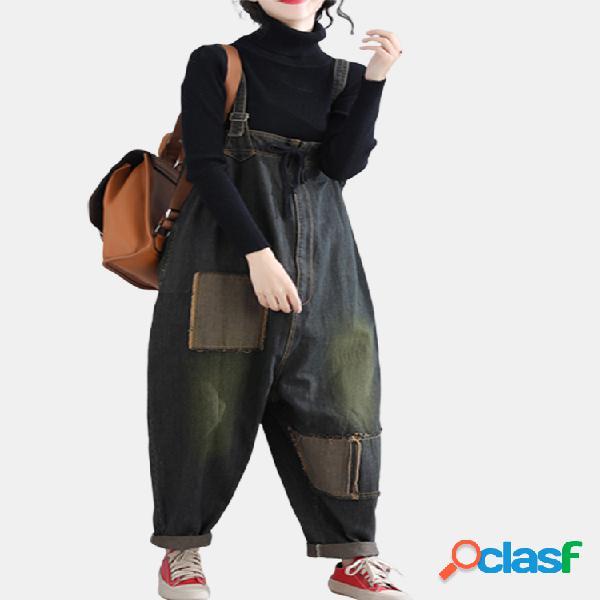 Mujer color sólido correa suelta bolsillo denim jumpsuit