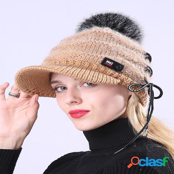 Mujer de punto de invierno plus gorra cálida de terciopelo grande cabello gorra de boina de lana con sujeción de bola al aire libre casual sombrero