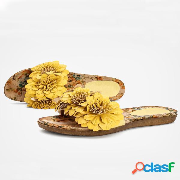 Lostisy mujer decoración de flores punta abierta comfy holiday zapatillas
