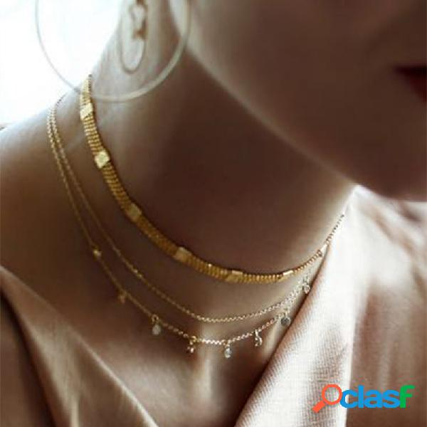 Étnico rhinestone borla colgante collar cadena de metal conexión encanto collar joyería bohemia