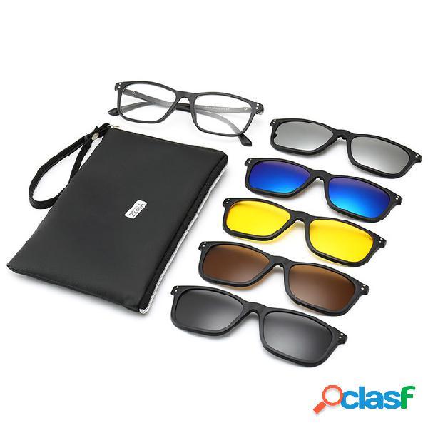 Gafas de sol de miopía de cinco piezas clip gafas de sol polarizadas marco magnético espejo de cara redonda espejo de visión nocturna