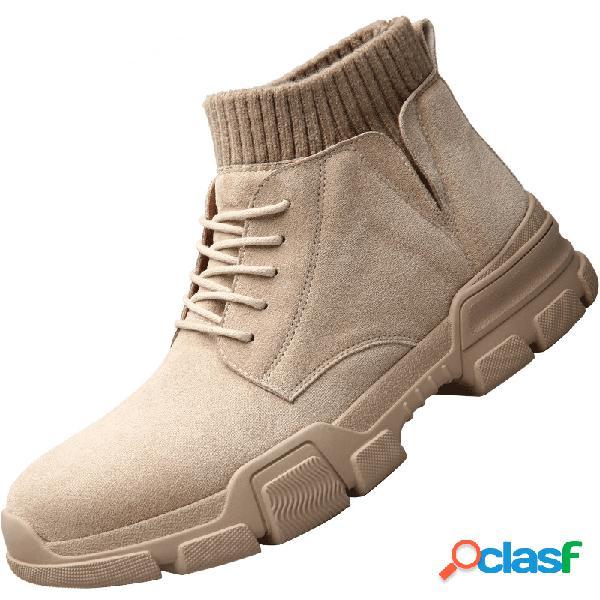 Hombres slip on sock elástico de gamuza sintética con cordones tobillo antideslizante botas