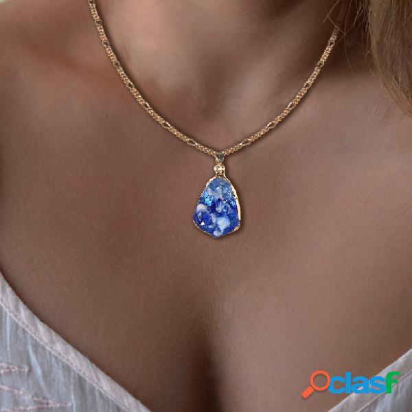 Vendimia colorful geométrico piedra natural colgante collar collar de cadena de gota de agua irregular