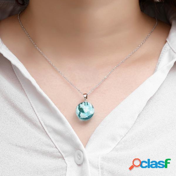 Collar de cadena transparente de resina geométrica geométrica de moda colgante nubes blancas azules