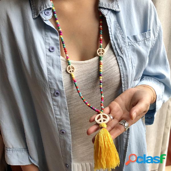 Bohemio colorful turquesa collar de cuentas borla del signo de la paz colgante collar cadena de suéter