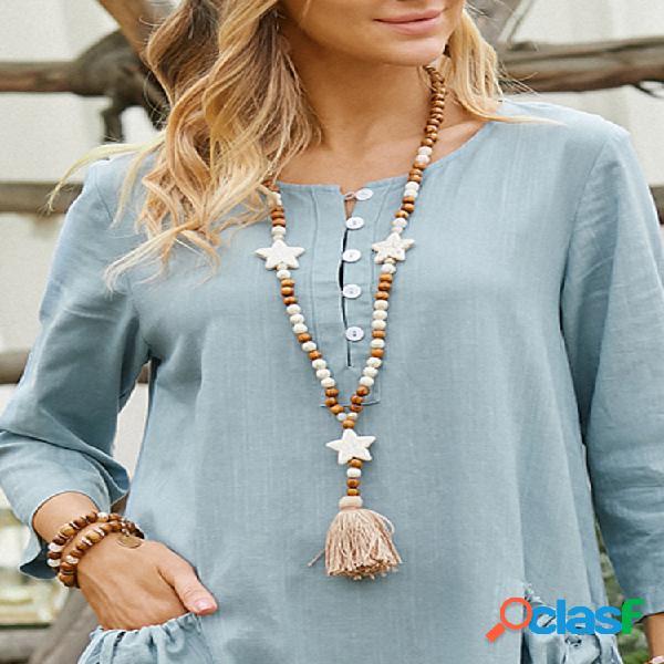 Collar largo bohemio con cuentas estrella de cinco puntas colgante collar con borlas cadena de suéter
