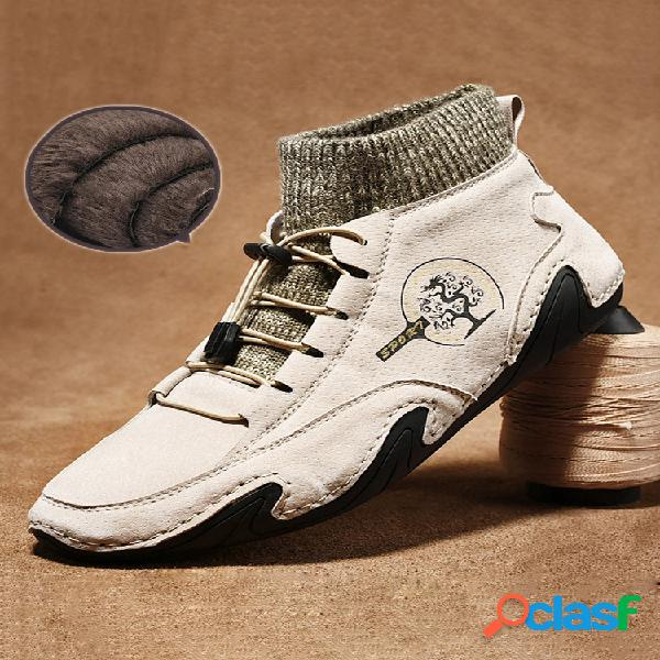 Hombres hechos a mano antideslizantes soft cálido forro de felpa tobillo botas