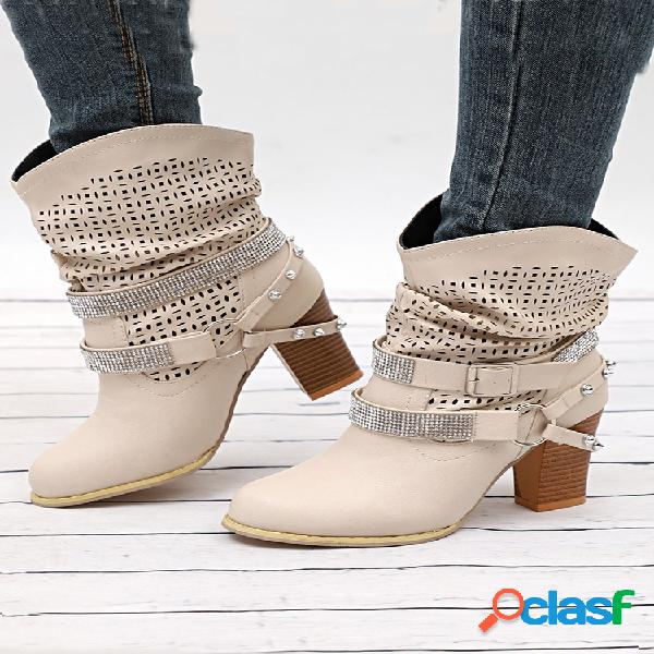 Mujer color sólido diamante de imitación hueco plisado casual tacón grueso mitad de la pantorrilla botas