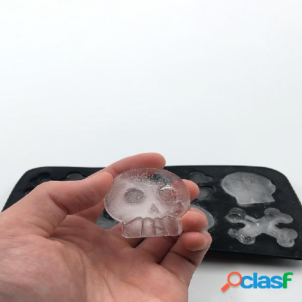 Bandeja de hielo de silicona 8 con cráneo bandeja de hielo de grado alimenticio silicona cráneo hielo cube molde