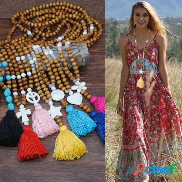 Collar de borlas de cuentas de madera bohemias geométricas corazón mariposa estrella turquesa colgante collar largo