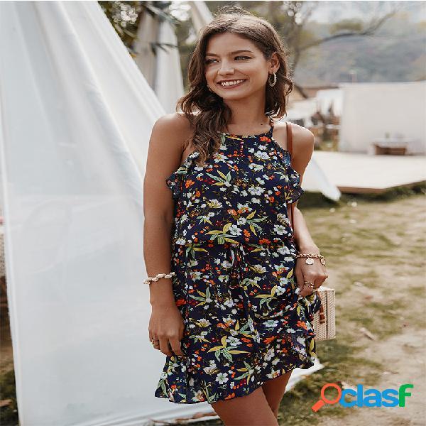 Slip casual sin mangas con estampado floral vestido para mujer