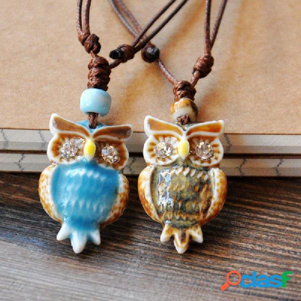 Vendimia geométrico rhinestones owl colgante collar con cordón étnico hecho a mano cerámico collar largo ajustable