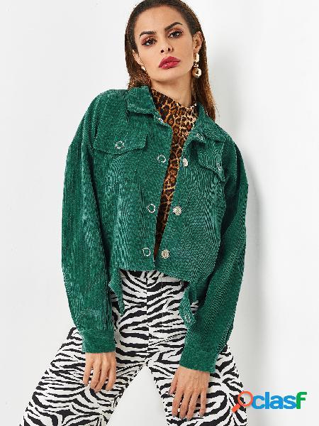 Green lapel collar button design corduroy jacket
