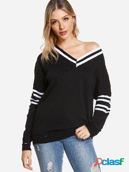 Suéter con cuello en v de raya negra con cuello en v loose fit random ripped ripped