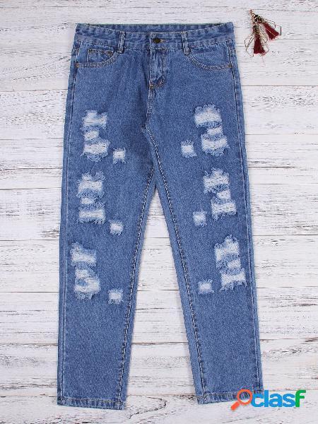 Blue random ripped detalles mid waist jeans