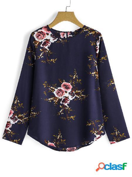 Botón de color caqui azul marino Ojo de la cerradura Estampado floral al azar Cuello redondo Mangas largas Camisetas