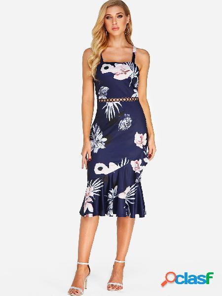 Vestido de cola de pescado con estampado floral al azar de diseño hueco azul marino