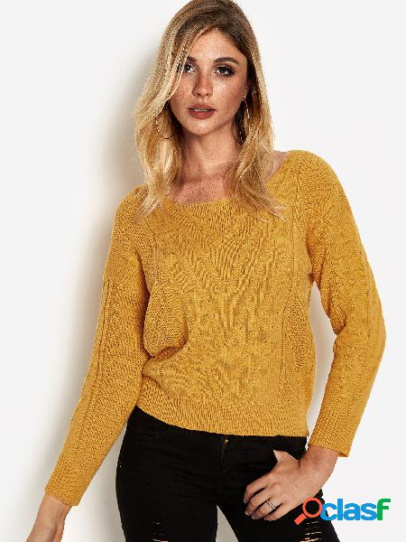 Nudo de cuello redondo liso amarillo detalles suéteres de mangas largas