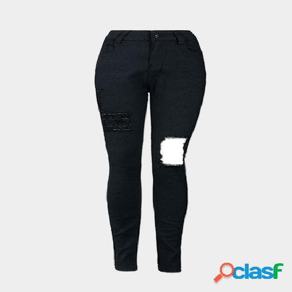 Negro big ripped shredded pantalones vaqueros de cintura alta