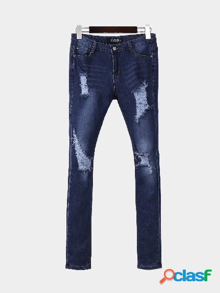 Moda skinny shredded ripped jeans