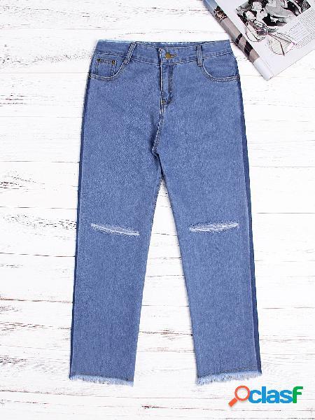 Casual blue random ripped detalles denim jeans