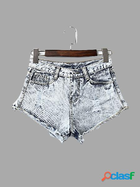 Moda ripped detalles denim skorts
