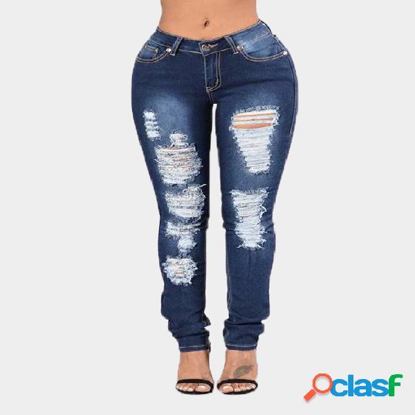 Azul oscuro de cintura media skinny shredded ripped jeans con cuatro bolsillos
