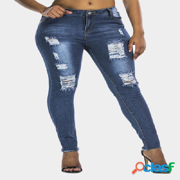 Dark blue ripped detalles skinny jeans