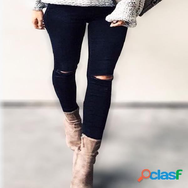 Negro ripped details skinny leg jeans