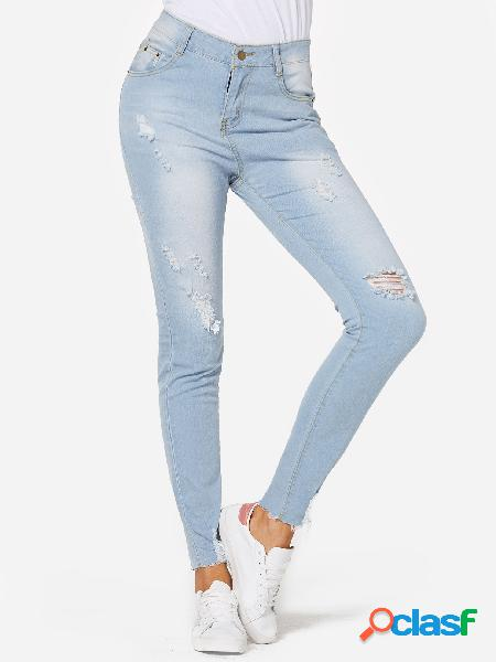Blue ripped details cintura media jeans