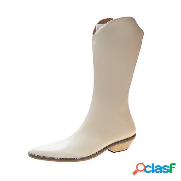 Mujer retro puntiagudo dedo del pie cómodo deslizamiento a mitad de la pantorrilla en tacón grueso montar botas