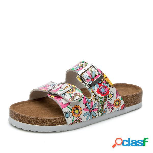 Mujer playa impresión soft doble correa plana zapatillas