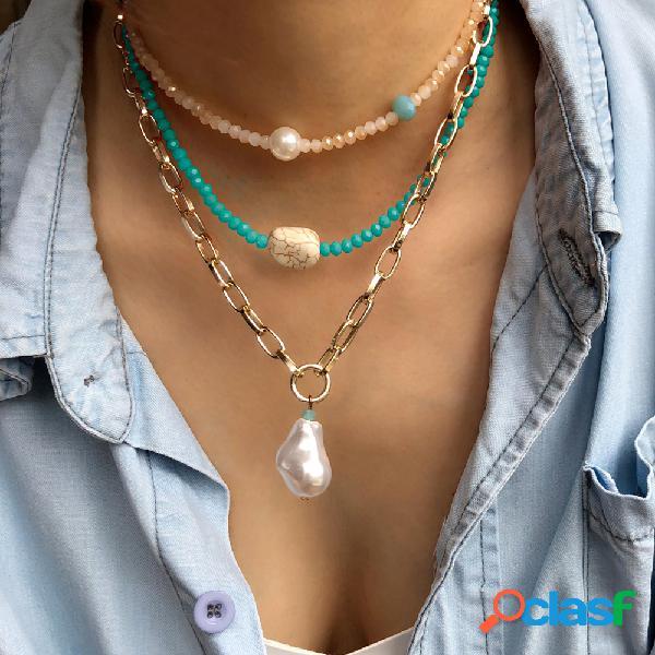 Collar de múltiples capas con cuentas de cristal de bohemia collar de metal turquesa perla colgante collar