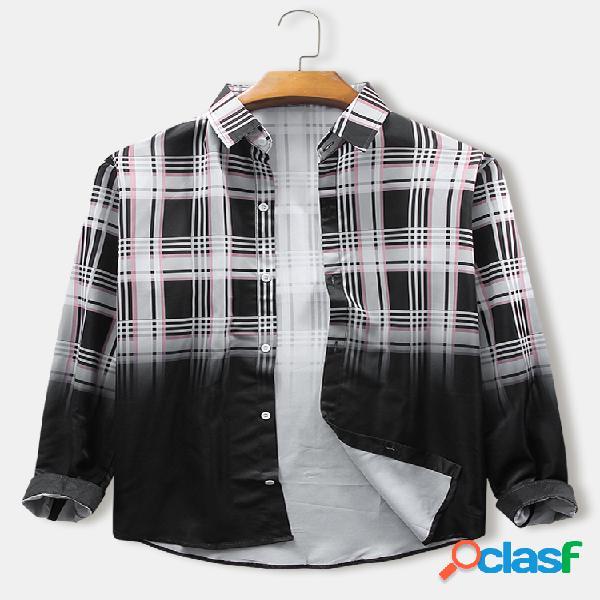 Plaid para hombre y cuello de solapa con estampado ombre camisas de manga larga finas ocasionales