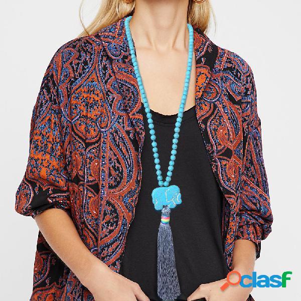 Collar de borla largo bohemio turquesa elefante con cuentas colgante collar mujer joyería de cadena de suéter