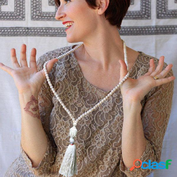 Collar de borlas de cuentas de madera largas turquesa buda colgante collar mujer joyas