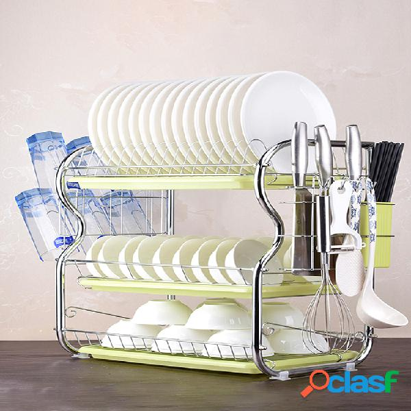 fregadero de cocina de acero inoxidable de 3 niveles estante para platos escurridor de vasos bandeja soporte para cubiertos mostrador organizador estante de almacenamiento para ahorrar espac