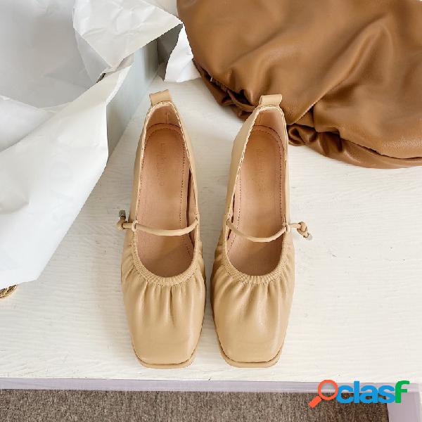 Mujer square comfy soft suela casual slip on tacones