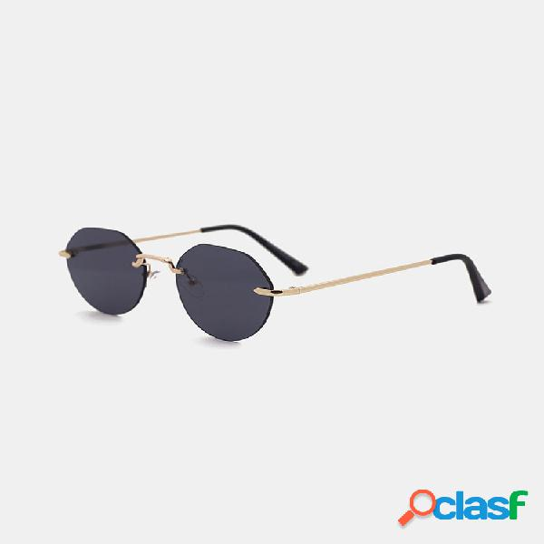 Gafas de sol de protección de forma redonda sin marco uv de moda retro para mujer