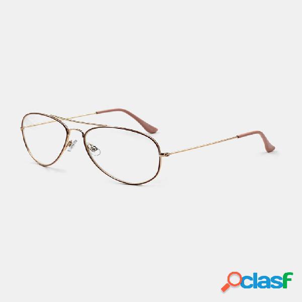 Mujer borde estrecho de metal de fotograma completo informal de moda plus tamaño gafas