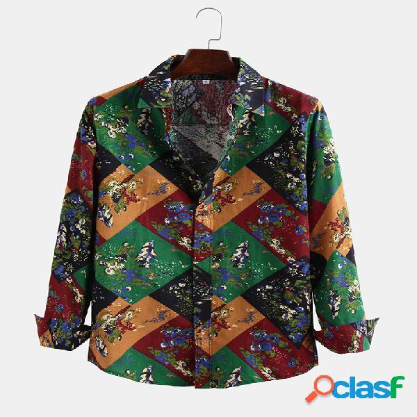 Costuras de bloque de color de estilo étnico para hombre impreso botones manga larga camisa