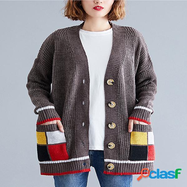 Literary plus tamaño color costura abrigo cárdigan suéter