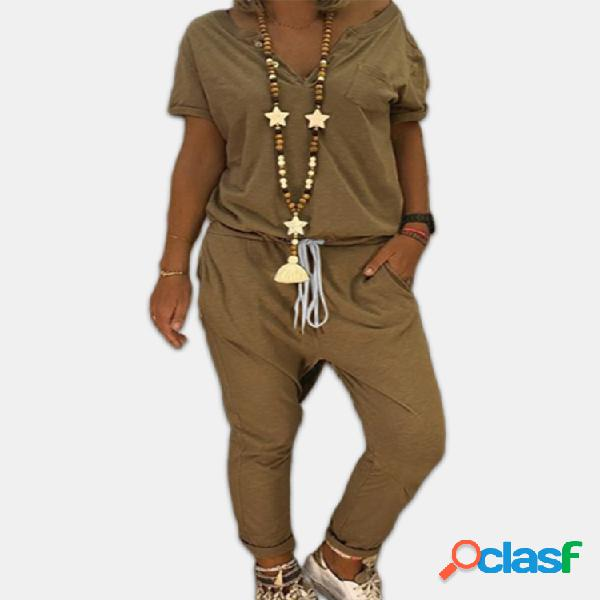 Color sólido manga corta cintura elástica plus tamaño mono