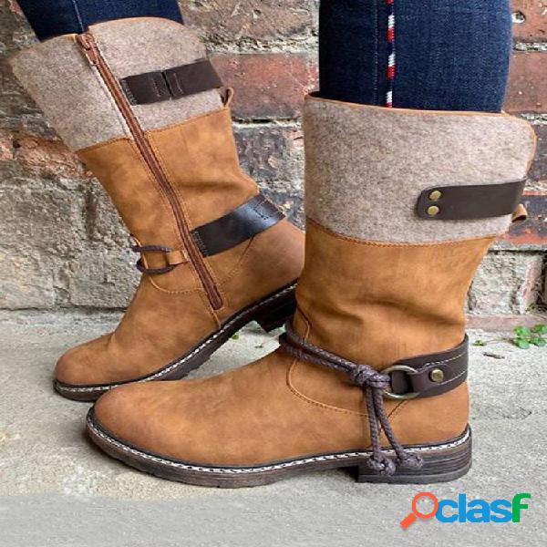 Mujer retro comfy punta redonda con tiras tacón en bloque mid claf botas