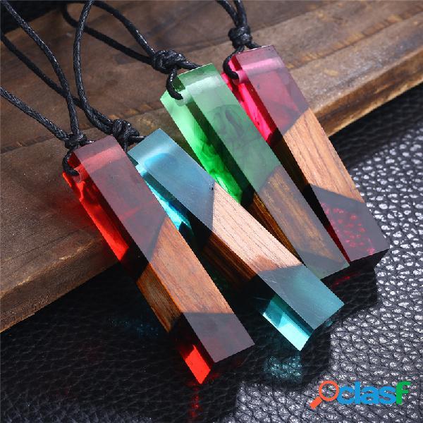 Vendimia geométrica de resina sólida transparente colgante collar hecho a mano suéter cadena joyería étnica