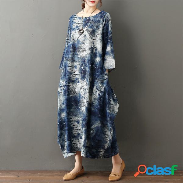 Plus tamaño de la mujer literary printing loose casual retro algodón y lino vestido