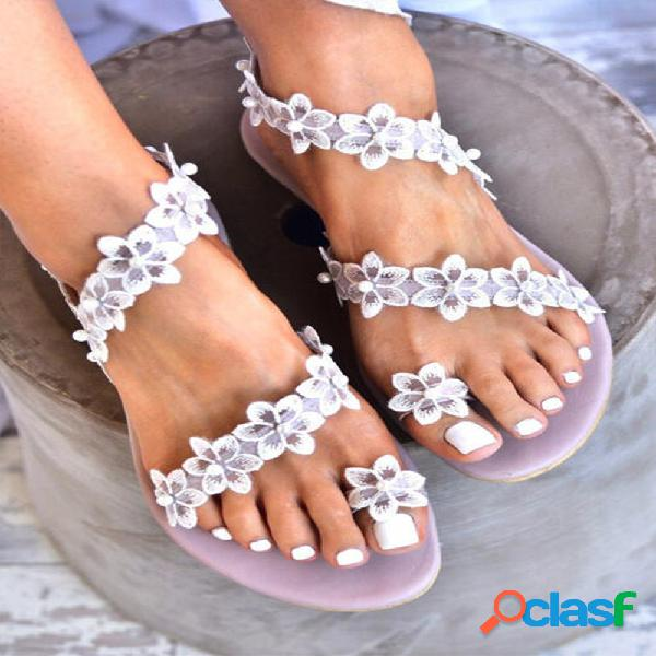 Mujeres sweet lace flowers decor comfy clip toe playa sandalias