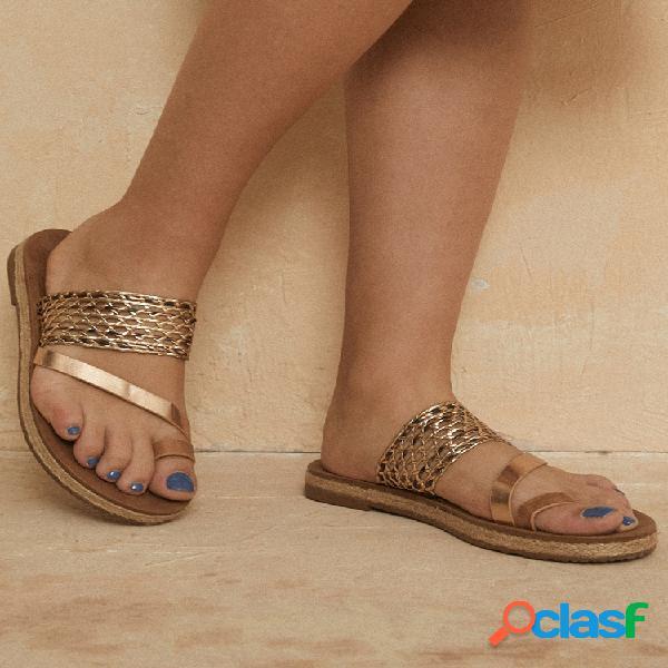 Mujer casual comfy clip toe hollow alpargatas planas sandalias
