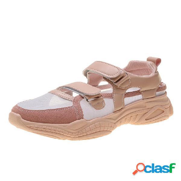 Mujer mesh comfy gancho loop sports platform sneakers
